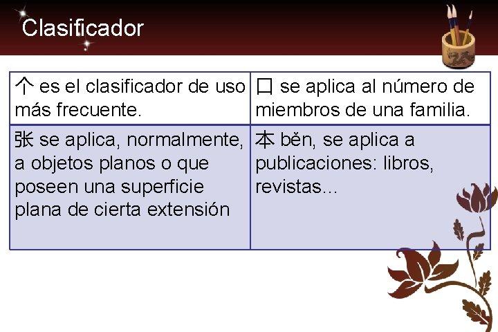 Clasificador 个 es el clasificador de uso 口 se aplica al número de más