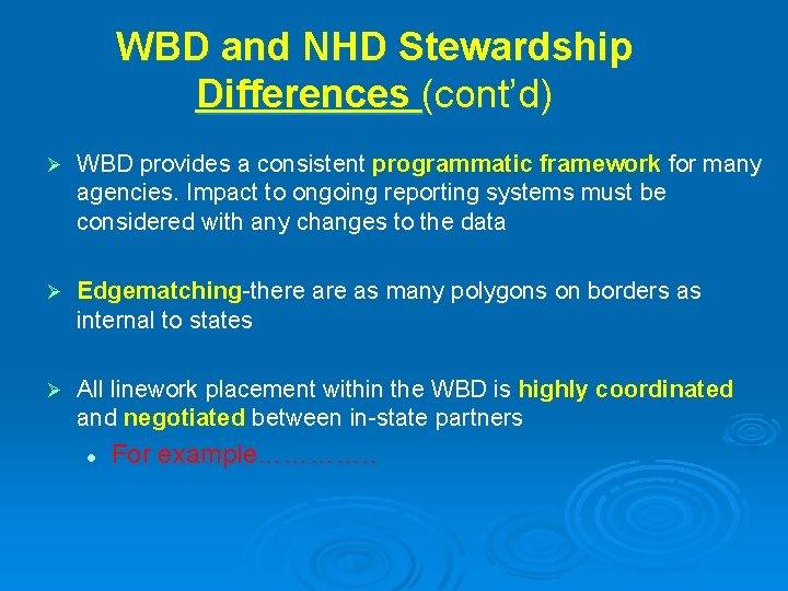 WBD and NHD Stewardship Differences (cont'd) Ø WBD provides a consistent programmatic framework for