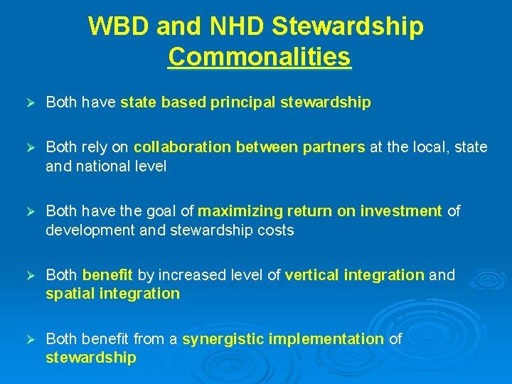 WBD and NHD Stewardship Commonalities Ø Both have state based principal stewardship Ø Both