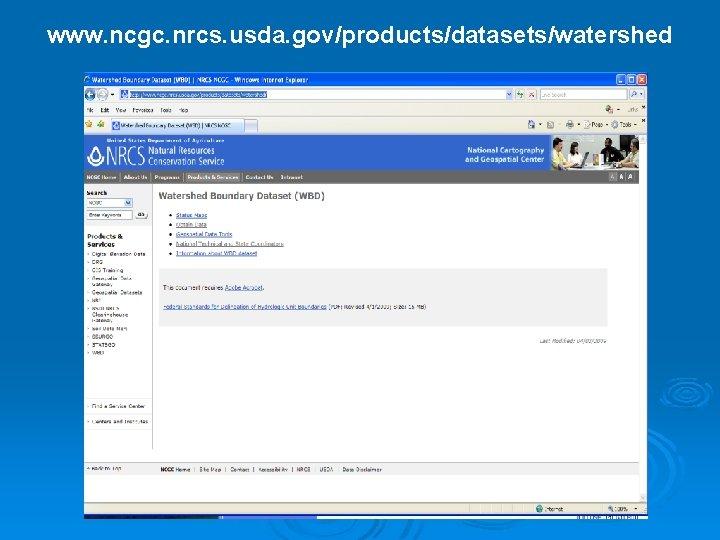 www. ncgc. nrcs. usda. gov/products/datasets/watershed