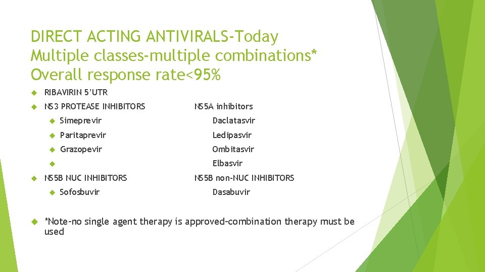 DIRECT ACTING ANTIVIRALS-Today Multiple classes-multiple combinations* Overall response rate<95% RIBAVIRIN 5'UTR NS 3 PROTEASE