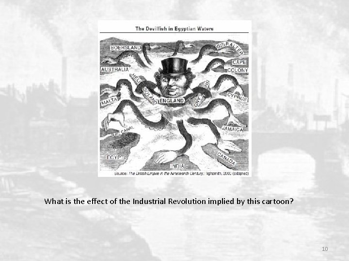 What is the effect of the Industrial Revolution implied by this cartoon? 10