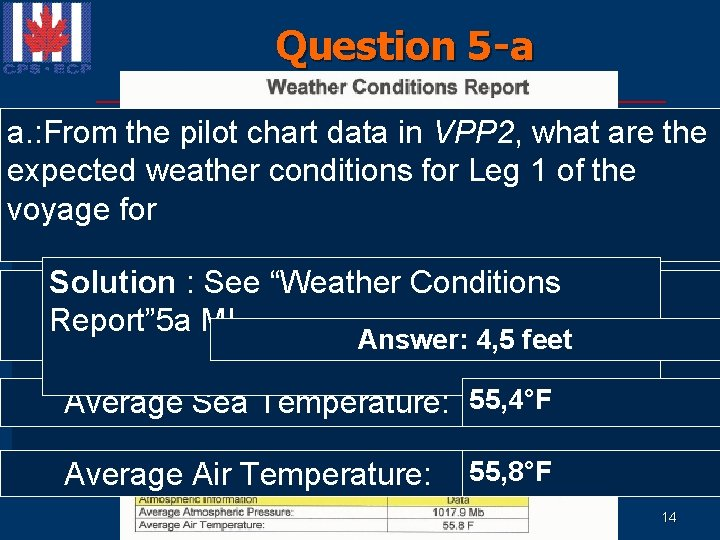 Question 5 -a a. : From the pilot chart data in VPP 2, what