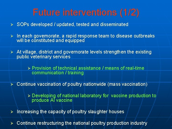 Future interventions (1/2) Ø SOPs developed / updated, tested and disseminated Ø In each