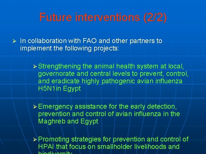 Future interventions (2/2) Ø In collaboration with FAO and other partners to implement the