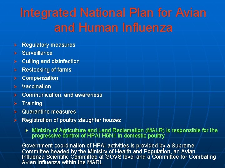 Integrated National Plan for Avian and Human Influenza Ø Ø Ø Ø Ø Regulatory