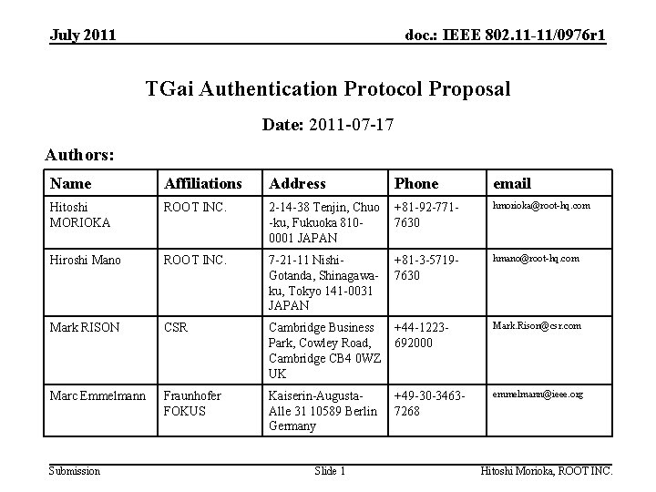 July 2011 doc. : IEEE 802. 11 -11/0976 r 1 TGai Authentication Protocol Proposal