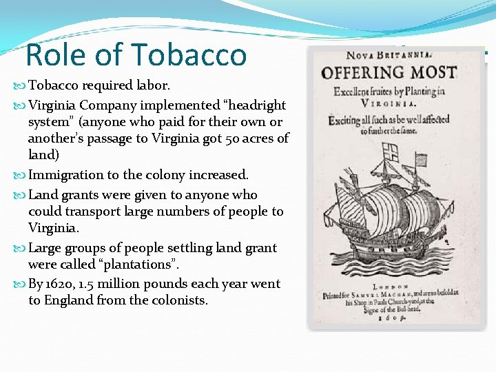 """Role of Tobacco required labor. Virginia Company implemented """"headright system"""" (anyone who paid for"""