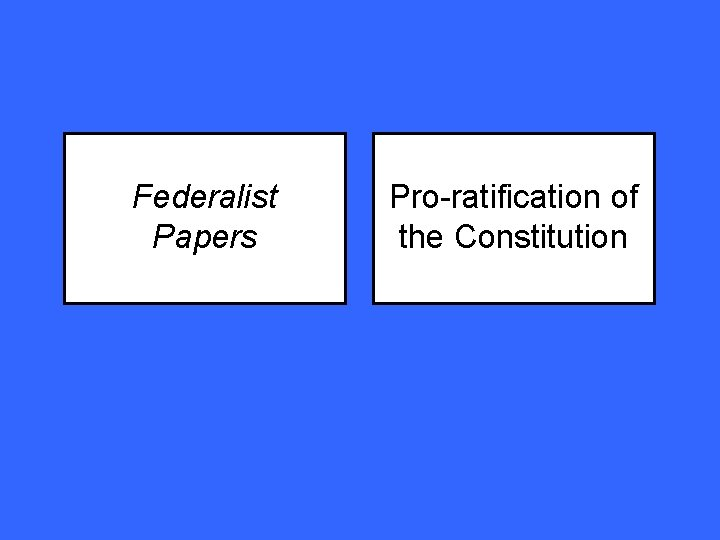 Federalist Papers Pro-ratification of the Constitution