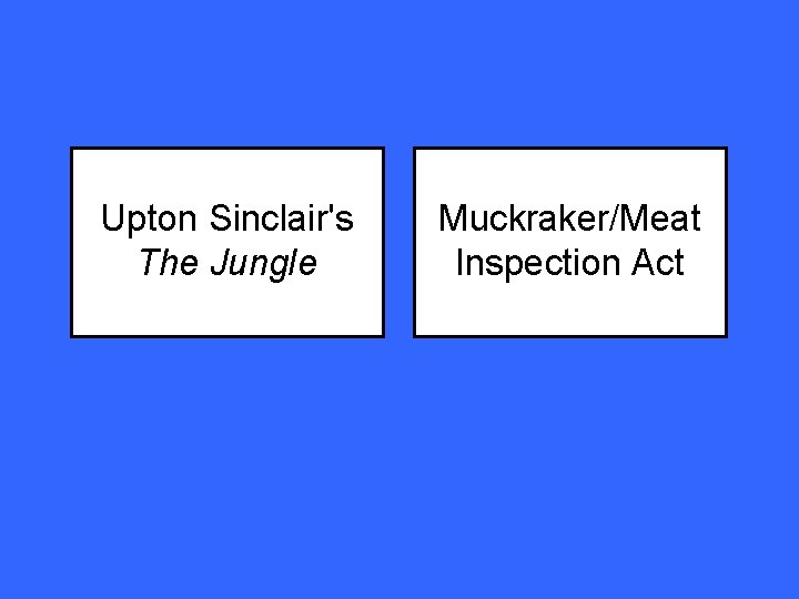 Upton Sinclair's The Jungle Muckraker/Meat Inspection Act