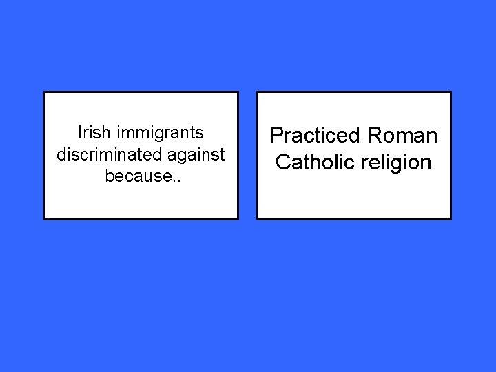 Irish immigrants discriminated against because. . Practiced Roman Catholic religion