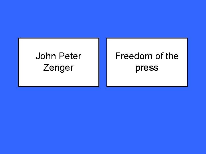 John Peter Zenger Freedom of the press
