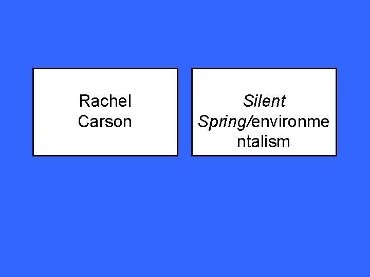 Rachel Carson Silent Spring/environme ntalism