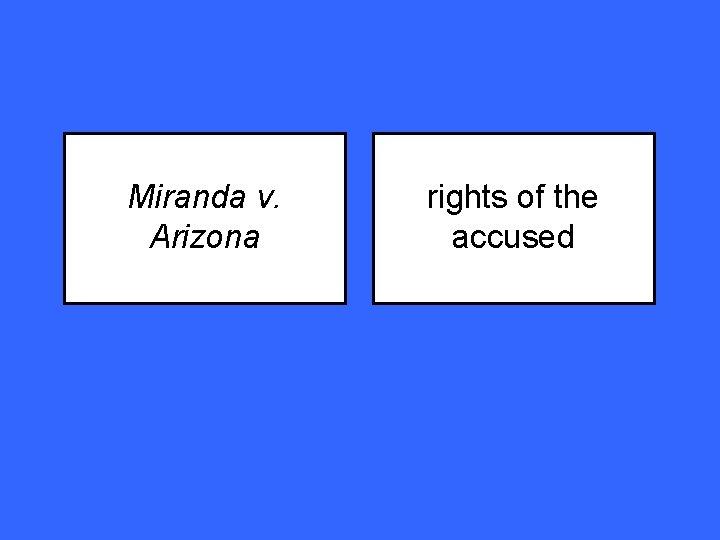Miranda v. Arizona rights of the accused