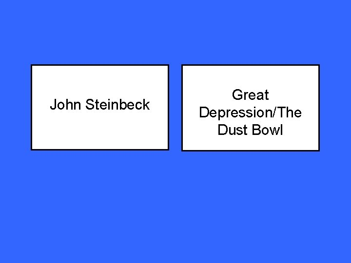 John Steinbeck Great Depression/The Dust Bowl