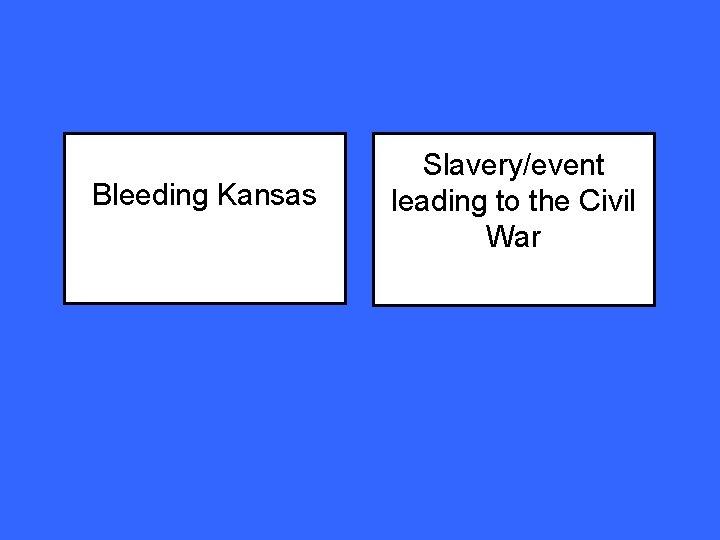 Bleeding Kansas Slavery/event leading to the Civil War
