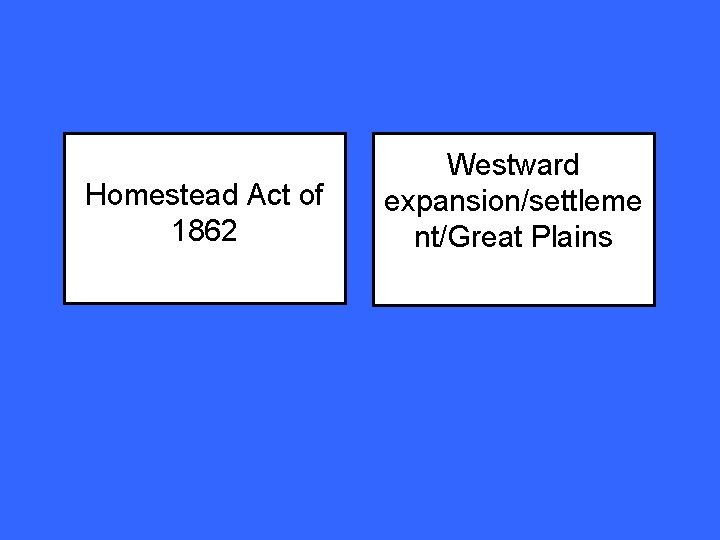Homestead Act of 1862 Westward expansion/settleme nt/Great Plains