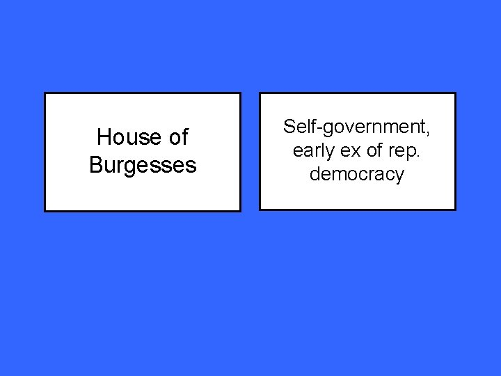 House of Burgesses Self-government, early ex of rep. democracy