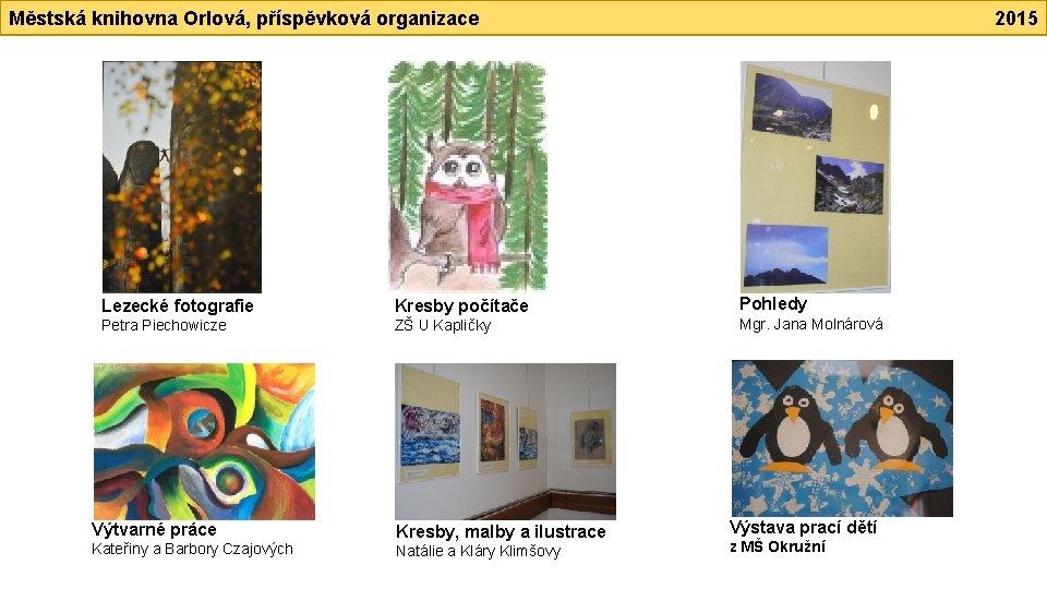 Městská knihovna Orlová, příspěvková organizace Lezecké fotografie Kresby počítače Petra Piechowicze ZŠ U Kapličky
