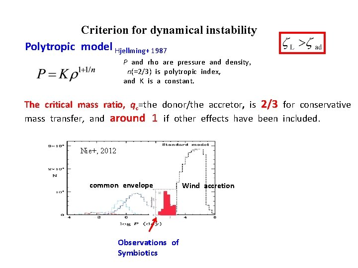 Criterion for dynamical instability Polytropic model Hjellming+ 1987 P and rho are pressure and