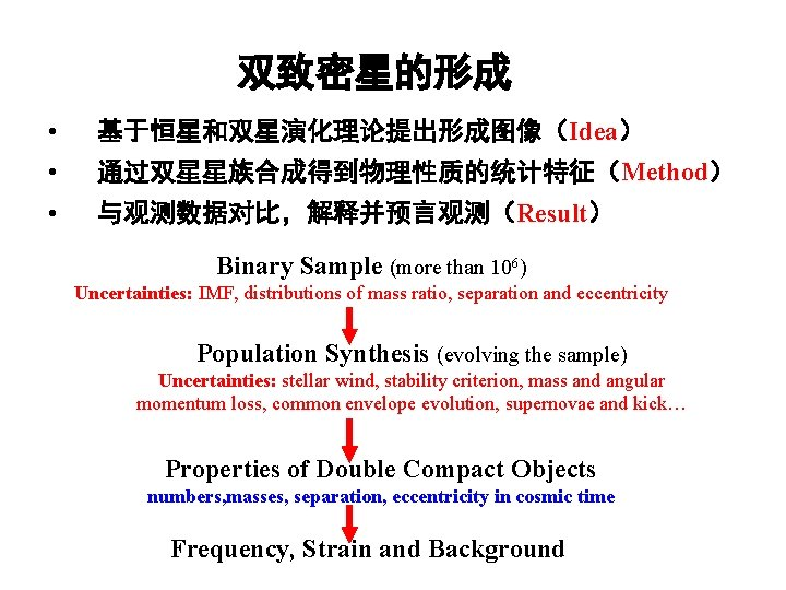 双致密星的形成 • 基于恒星和双星演化理论提出形成图像(Idea) • 通过双星星族合成得到物理性质的统计特征(Method) • 与观测数据对比,解释并预言观测(Result) Binary Sample (more than 106) Uncertainties: IMF,