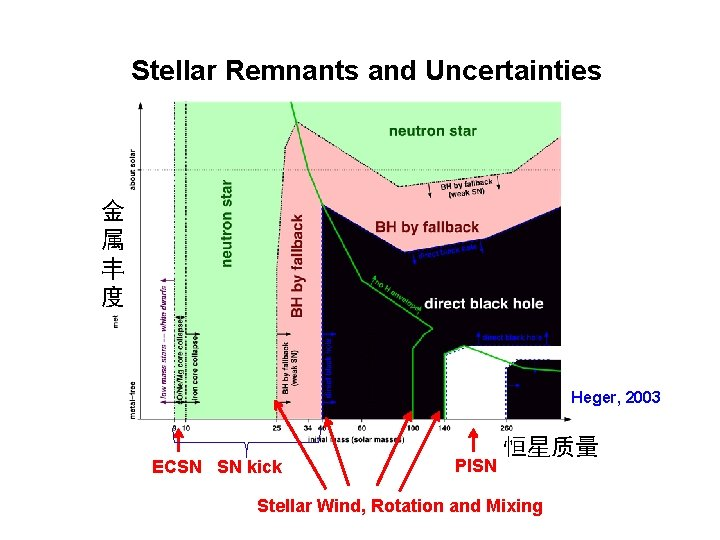 Stellar Remnants and Uncertainties 金 属 丰 度 Heger, 2003 ECSN SN kick PISN