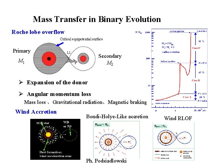 Mass Transfer in Binary Evolution Roche lobe overflow Critical equipotential surface Primary L 1