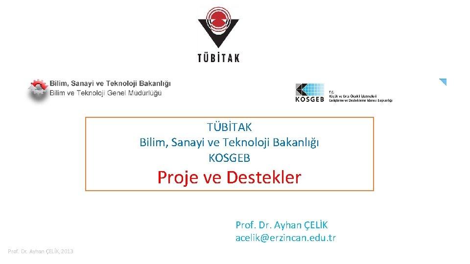 TÜBİTAK Bilim, Sanayi ve Teknoloji Bakanlığı KOSGEB Proje ve Destekler Prof. Dr. Ayhan ÇELİK