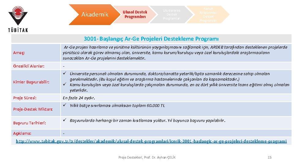 Akademik Ulusal Destek Programları Uluslararası Destek Programları Konuk Araştırmacı Destek Programları 3001 - Başlangıç