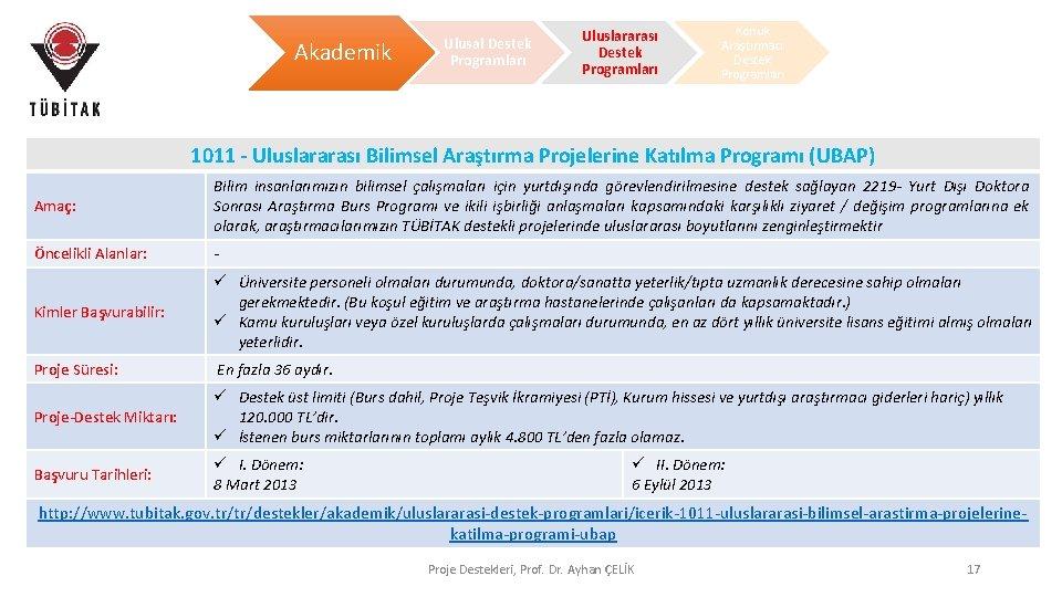 Akademik Ulusal Destek Programları Uluslararası Destek Programları Konuk Araştırmacı Destek Programları 1011 - Uluslararası