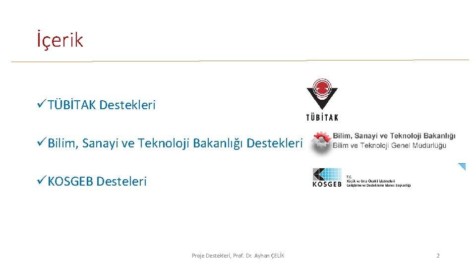 İçerik üTÜBİTAK Destekleri üBilim, Sanayi ve Teknoloji Bakanlığı Destekleri üKOSGEB Desteleri Proje Destekleri, Prof.