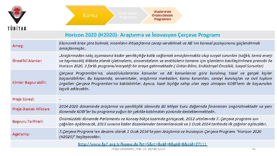 Kamu Ulusal Destek Programları Uluslararası Ortaklı Destek Programları Horizon 2020 (H 2020)- Araştırma ve