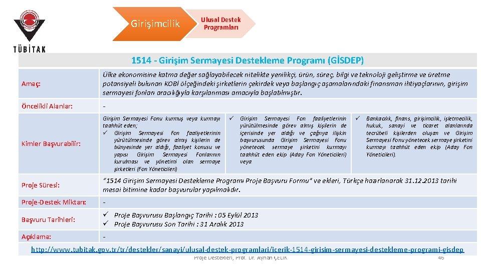 Girişimcilik Ulusal Destek Programları 1514 - Girişim Sermayesi Destekleme Programı (GİSDEP) Amaç: Ülke ekonomisine
