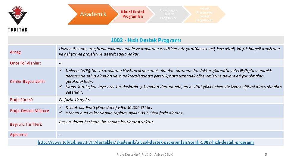 Akademik Ulusal Destek Programları Uluslararası Destek Programları Konuk Araştırmacı Destek Programları 1002 - Hızlı