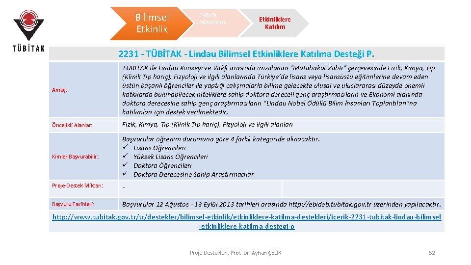 Bilimsel Etkinlik Düzenleme Etkinliklere Katılım 2231 - TÜBİTAK - Lindau Bilimsel Etkinliklere Katılma Desteği