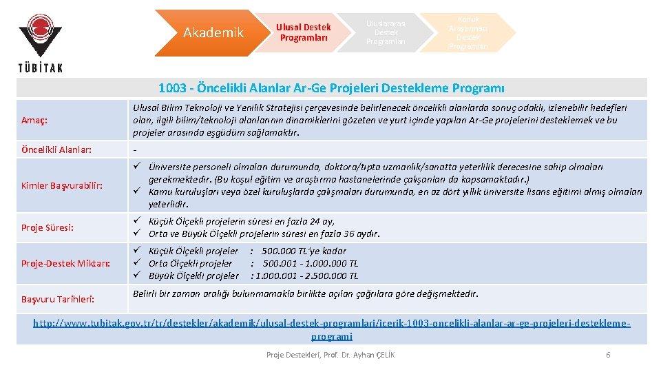 Akademik Ulusal Destek Programları Uluslararası Destek Programları Konuk Araştırmacı Destek Programları 1003 - Öncelikli