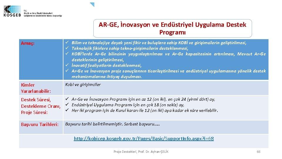AR-GE, İnovasyon ve Endüstriyel Uygulama Destek Programı Amaç: ü Bilim ve teknolojiye dayalı yeni