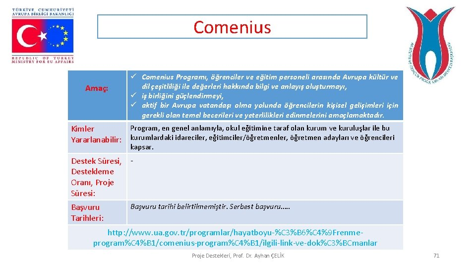 Comenius Amaç: ü Comenius Programı, öğrenciler ve eğitim personeli arasında Avrupa kültür ve dil