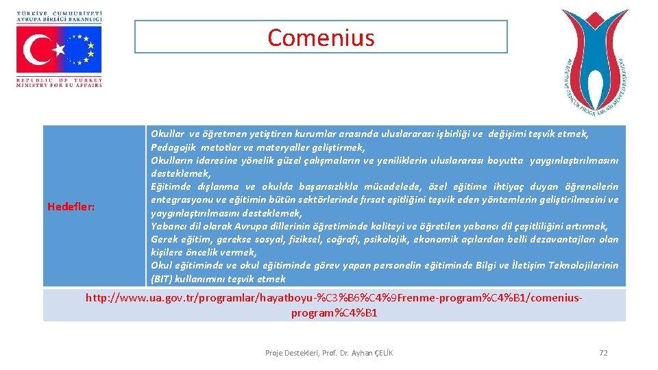 Comenius Hedefler: Okullar ve öğretmen yetiştiren kurumlar arasında uluslararası işbirliği ve değişimi teşvik etmek,