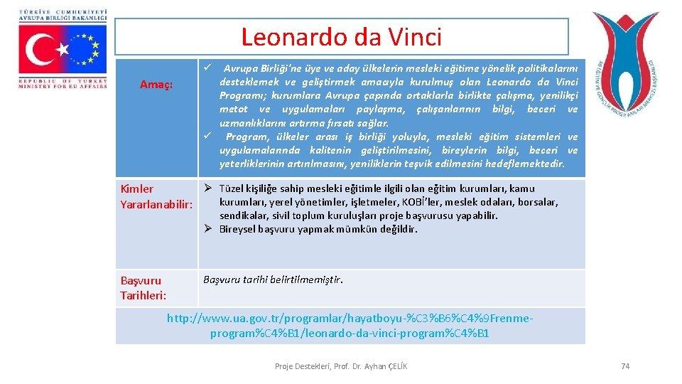 Leonardo da Vinci Amaç: ü Avrupa Birliği'ne üye ve aday ülkelerin mesleki eğitime yönelik