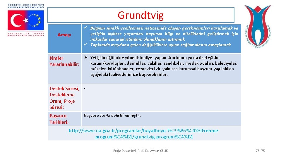 Grundtvig Amaç: ü Bilginin sürekli yenilenmesi neticesinde oluşan gereksinimleri karşılamak ve yetişkin kişilere yaşamları