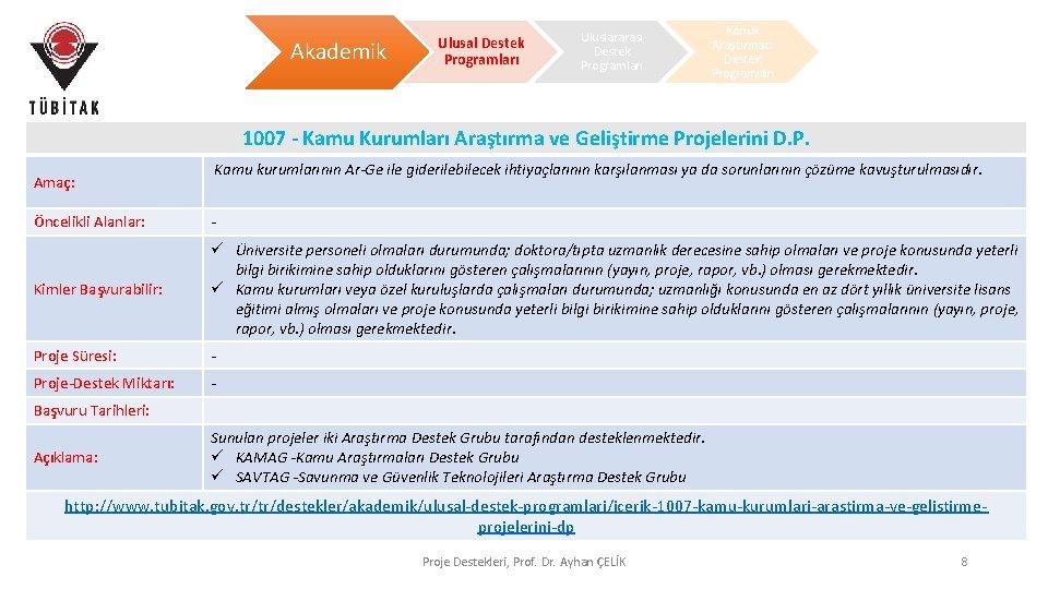 Akademik Ulusal Destek Programları Uluslararası Destek Programları Konuk Araştırmacı Destek Programları 1007 - Kamu