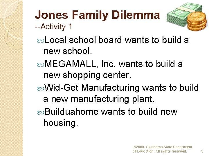 Jones Family Dilemma --Activity 1 Local school board wants to build a new school.