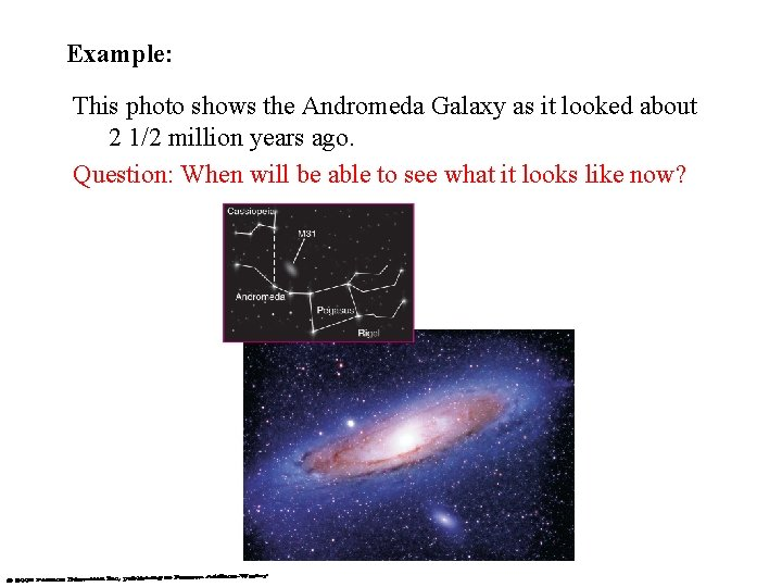Example: This photo shows the Andromeda Galaxy as it looked about 2 1/2 million