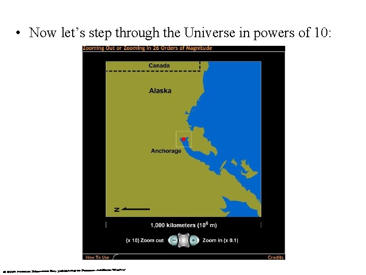 • Now let's step through the Universe in powers of 10: