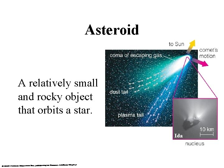 Asteroid A relatively small and rocky object that orbits a star. Ida