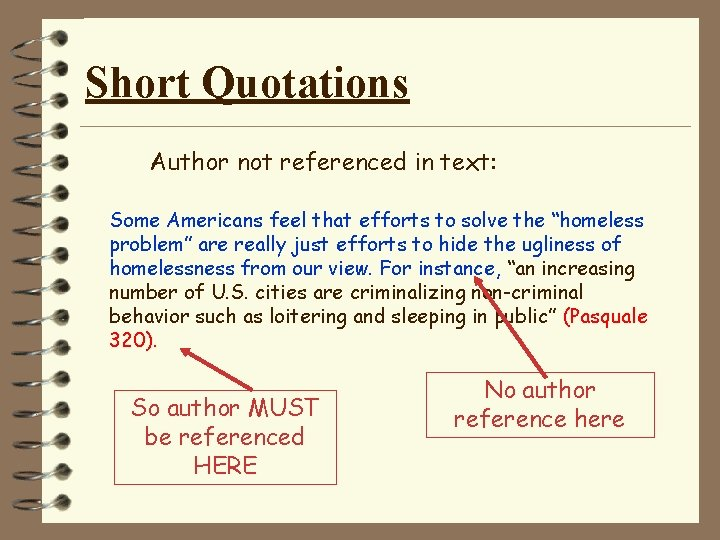 Short Quotations Author not referenced in text: Some Americans feel that efforts to solve