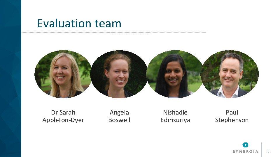 Evaluation team Dr Sarah Appleton-Dyer Angela Boswell Nishadie Edirisuriya Paul Stephenson 3