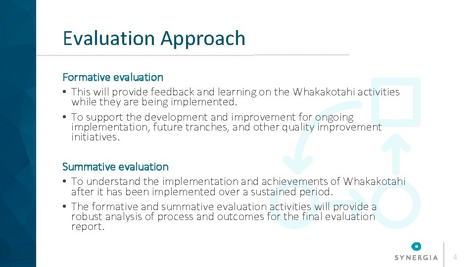 Evaluation Approach Formative evaluation • This will provide feedback and learning on the Whakakotahi