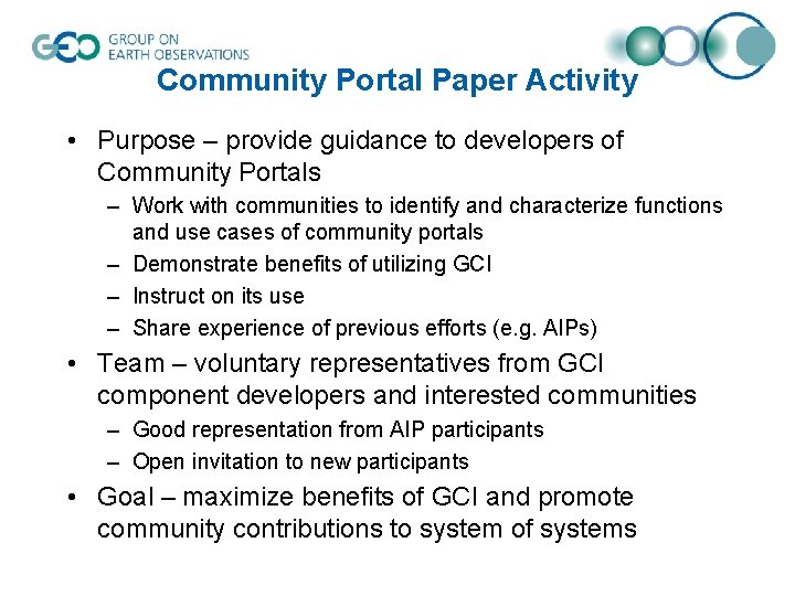 Community Portal Paper Activity • Purpose – provide guidance to developers of Community Portals